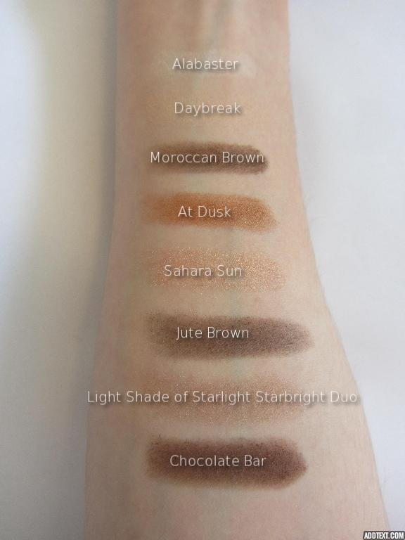 labelled eyeshadow swatches