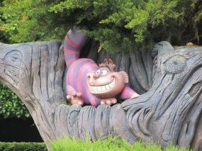 August 2015 Paris Disneyland Cheshire Cat in tree