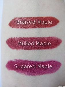 lipstick swatches with labels