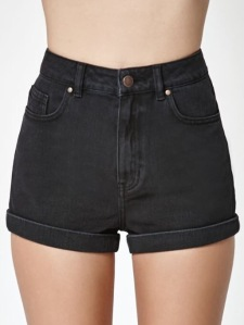 Kendall + Kylie Washed Black Cuffed Denim Mom Shorts