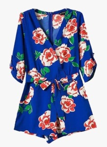 Genuine People Blue Floral Chiffon Romper