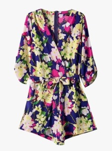 Genuine People Floral Print Silky Romper
