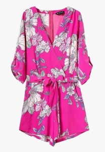 Genuine People Pink Floral Chiffon Romper