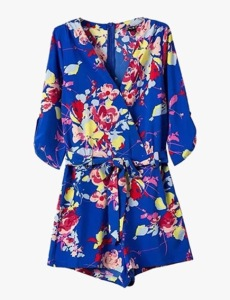 Genuine People Blue Silky Chiffon Floral Romper