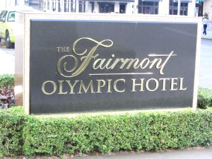 Fairmont Olympic Hotel sign
